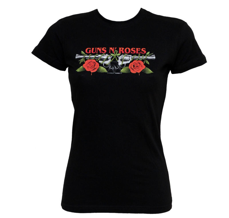 damen t shirt guns n roses roses pistols bravado usa. Black Bedroom Furniture Sets. Home Design Ideas