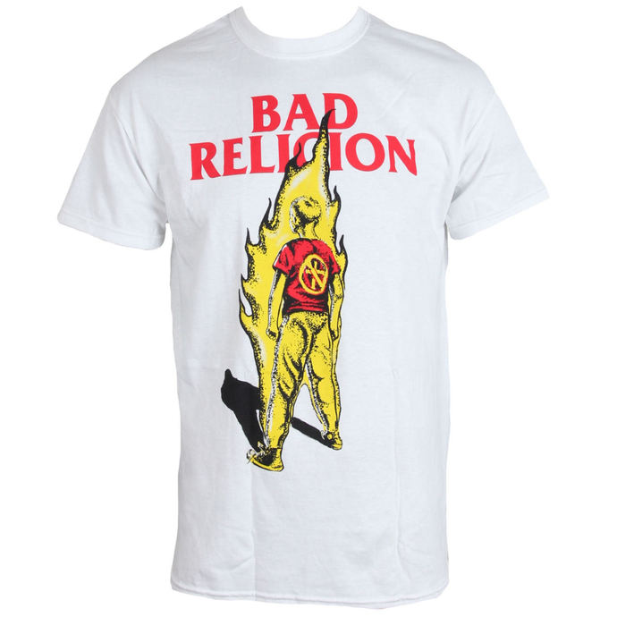Herren T-Shirt BAD RELIGION - Flame - WEISS - LIVE NATION