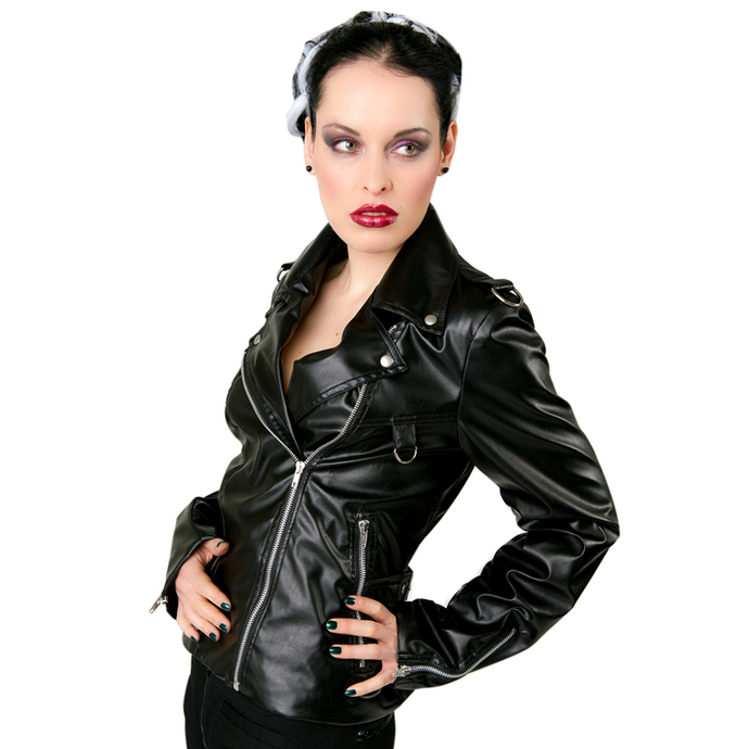 Jacke Damen (Leather Jacket) Black Pistol - Biker Jacket Sky Black