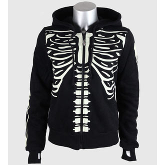 Damen Hoodie BANNED - Glow In The Dark Skeleton - Black - HBN017