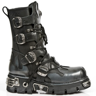 Schuhe NEW ROCK - Flame Boots (591-S2) Black-Grey - N-8-05-700-08