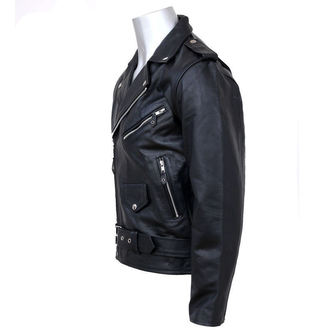 Jacke , Leather Jacket NEW ROCK - Black Cow Leather