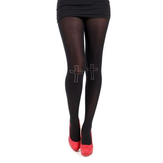 Strumpfhose PAMELA MANN - 80 Denier Tights With Cross On Knee-Black - 013
