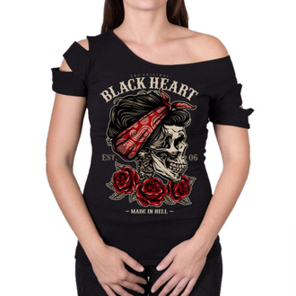 Damen T-Shirt Street - PIN UP SKULL DESTROY - BLACK HEART, BLACK HEART