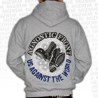 Herren Hoodie  Agnostic Front - Against The World - Grey - RAGEWEAR