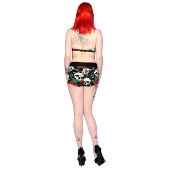 Frauen Badeanzug  BANNED - Skull Roses - Black/Red - IBN1613BLK/RED