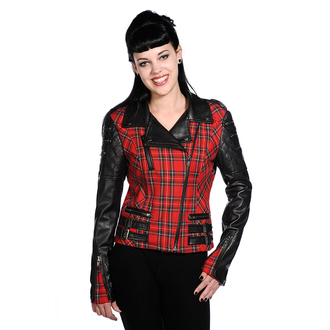 Damen Jacke Frühling/Herbst BANNED - Red Tartan Faux Leather - JBN608