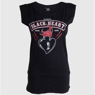 Damen T-Shirt  (Love Madness Top) BLACK HEART - Flames - Black