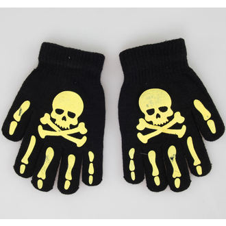 Handschuhe Skull - Black/Yellow - NS002