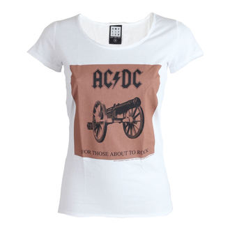 Damen T-Shirt AC/DC - About To Rock - White - AMPLIFIED