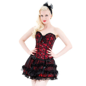 Korsett für Damen HEARTS AND ROSES - Red With Black Net - 815r