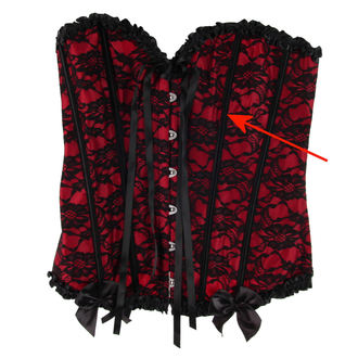Damen Korsett  HEARTS AND ROSES - Red With Black Net - BESCHÄDIGT, HEARTS AND ROSES
