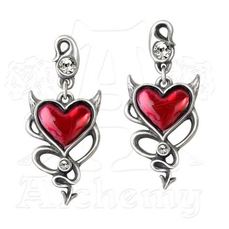Ohrringee ALCHEMY GOTHIC - Devil Heart Studs - ULFE22