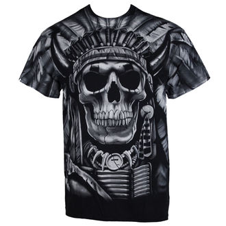 Herren T-Shirt  Indian Skull - BLK - LIQUID BLAU - 31752