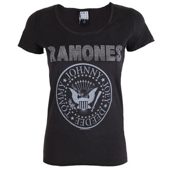 Damen Metal T-Shirt Ramones - LOGO SILVER DIAMANTE - AMPLIFIED - AV601RLS