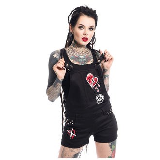 Kurze Damen Hose Heartless - ANTI LOVE BIB AND BRACE - SCHWARZ, HEARTLESS