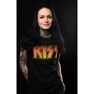Damen T-Shirt Metal Kiss - Distressed Logotype - HYBRIS, HYBRIS, Kiss