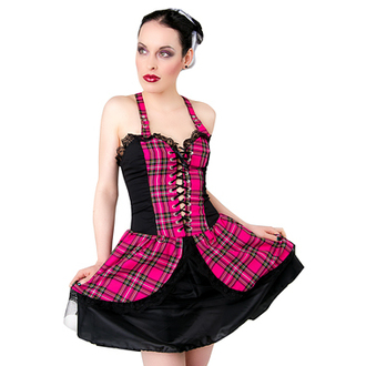 Damen Kleid Black Pistol - Punk Mini Dress Tartan Pink - B-5-04-060-18