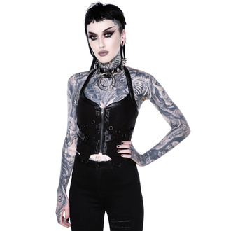 Damen Korsett KILLSTAR - Cadaver Zip Top - SCHWARZ, KILLSTAR